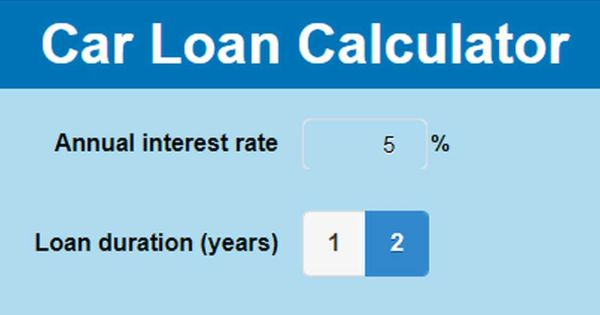 Screenshot of a car loan calculator in a smartphone