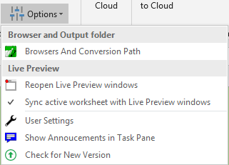 Screenshot of the Options in the Convert section of the ribbon