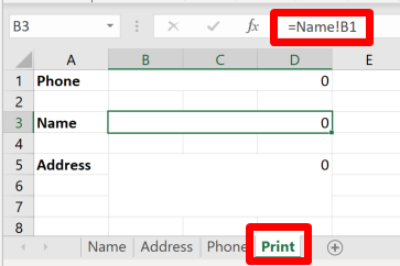 Screenshot of a print sheet in Excel