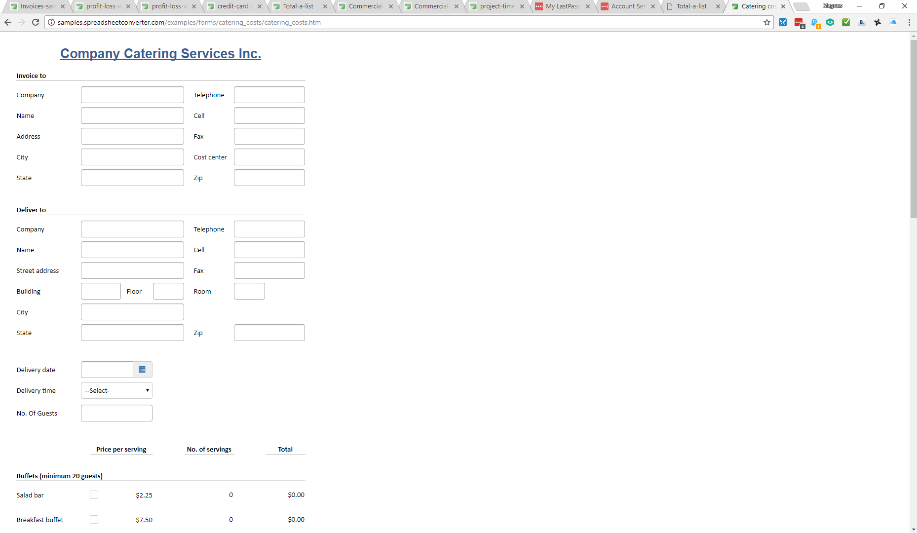 Screenshot of the catering form in Google Chrome